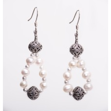 Freshwater Pearl and Sterling Silver Bali Earrings