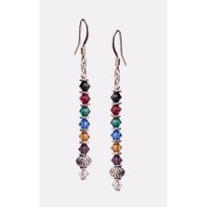 Multi-Colored Swarovski Crystal Sterling Silver Earrings