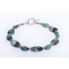 Kingman Turquoise and Sterling Silver Bracelet II