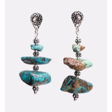 Kingman Turquoise Nugget and Sterling Silver Earrings