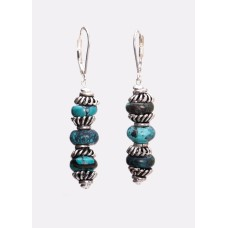 Turquoise Sterling Silver Bali Earrings