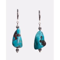 Turquoise Chunk and Sterling Silver Earrings