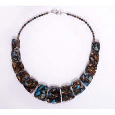 Blue Impression and Dark Picasso Jasper and Bronzite Graduated Collar Necklace.