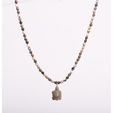 Ocean Jasper and Sterling Silver Necklace with Turtle Pendant