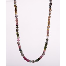 Faceted Tourmaline and Sterling Silver Necklace