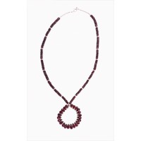 Garnet Teardrop and Sterling Silver Necklace