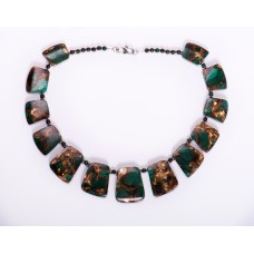 Malachite with Bronze Graduated Collar Necklace