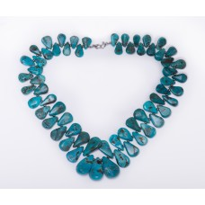 Kingman Turquoise Tear Drop and Sterling Silver Necklace