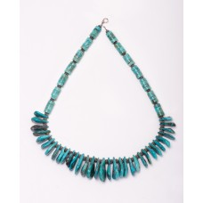 Kingman Turquoise Graduated Petal and Sterling Silver Necklace