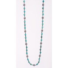 Faceted Turquoise Necklace and Sterling Silver Necklace II