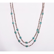 Kingman Turquoise, Oyster Shell and Sterling Silver Double Strand Necklace