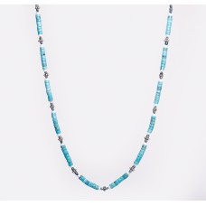 Kingman Turquoise, Blue Pearl and White Clam Shell Necklace