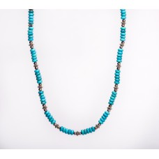 Sleeping Beauty Pure Sky Blue Turquoise and Sterling Silver Necklace