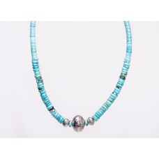 Kingman Turquoise and Hand Made Sterling Silver Navajo Stamped Bead Necklace (Unisex)