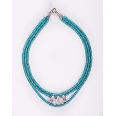Triple Strand Kingman Turquoise and Sterling Silver Teardrop Necklace II