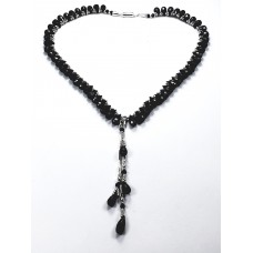 Black Spinel and Sterling Silver Necklace with Tassel Pendant